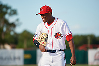 Florida Fire Frogs Raysheandell Michel (27) before a game against the Palm Beach Cardinals on May 1, 2018 at Osceola County Stadium in Kissimmee, Florida.  Florida defeated Palm Beach 3-2.  (Mike Janes/Four Seam Images)