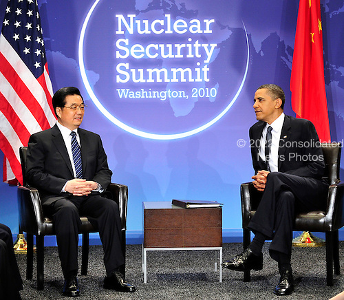United States President Barack Obama holds bilateral meeting with President Hu Jintao of China on the sidelines of the Nuclear Security Summit at the Washington Convention Center, Monday, April 12, 2010 in Washington, DC. .Credit: Ron Sachs / Pool via CNP