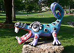 """Lowery bought this statue of an alligator during Belleville's annual Art On the Square art show and sale. It was made by Milwaukee artist Marina Lee and is perched on a large rock in the front yard. """"At Home"""" with Margaret Lowery in her Lake Christine Drive home in Belleville, IL on July 24, 2019. <br /> Photo by Tim Vizer"""