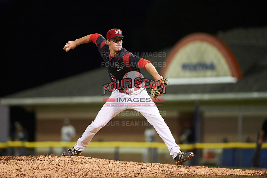 Batavia Muckdogs relief pitcher Travis Neubeck (22) delivers a pitch during a game against the Tri-City ValleyCats on July 14, 2017 at Dwyer Stadium in Batavia, New York.  Batavia defeated Tri-City 8-4.  (Mike Janes/Four Seam Images)