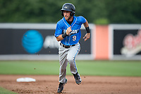 Deion Tansel (9) of the Hudson Valley Renegades runs back towards first base to avoid a double play during the game against the Aberdeen IronBirds at Leidos Field at Ripken Stadium on July 27, 2017 in Aberdeen, Maryland.  The Renegades defeated the IronBirds 2-0 in game one of a double-header.  (Brian Westerholt/Four Seam Images)
