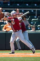 Oklahoma Sooners first baseman Kolbey Carpenter #23 at bat against the Texas Longhorns in the NCAA baseball game on April 6, 2013 at UFCU DischFalk Field in Austin, Texas. The Longhorns defeated the rival Sooners 1-0. (Andrew Woolley/Four Seam Images).