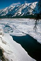 1985 Iditarod Team on S Fork Kuskokwim River AK<br /> near Rohn Area