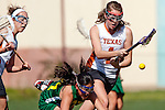 Santa Barbara, CA 02/13/10 - Taylor Duke (Texas #1) and Bryn Levitan (Oregon #77) in action during the Texas-Oregon game at the 2010 Santa Barbara Shoutout, Texas defeated Oregon 11-9.