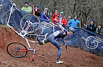January 10, 2016 - Asheville, North Carolina, U.S. -  An Under 23 cyclist takes a nasty spill on a difficult course during the USA Cycling Cyclo-Cross National Championships at the historic Biltmore Estate, Asheville, North Carolina.