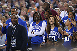 Friends and family of the Harrison Twins and Julius Randle react to a call during the NCAA Championship vs. UConn at the AT&T Stadium in Arlington, Tx., on Monday, April 7, 2014. Photo by Emily Wuetcher | Staff