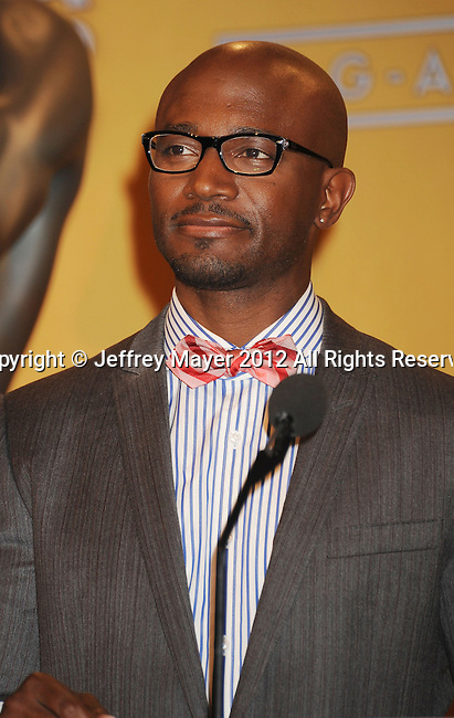 WEST HOLLYWOOD, CA - DECEMBER 12: Taye Diggs speaks onstage at the 19th Annual Screen Actors Guild Awards Nominations Announcement at the Pacific Design Center on December 12, 2012 in West Hollywood, California.
