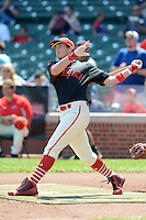 Infielder Luke Dykstra (4) of Westlake High School in Thousand Oaks, California during the home run derby before the Under Armour All-American Game on August 24, 2013 at Wrigley Field in Chicago, Illinois.  (Mike Janes/Four Seam Images)