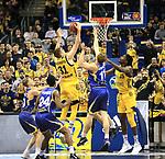 12.02.2019, Mercedes Benz Arena, Berlin, GER, ALBA ERLIN vs.  Basketball Loewen Braunschweig, <br /> im Bild Mokas Giedraitis (ALBA Berlin #31), Landry Nnoko (ALBA Berlin #35),<br /> Christian Sengfelder (Braunschweig #11), Shaquille Hines (Braunschweig #24)<br /> <br />      <br /> Foto &copy; nordphoto / Engler
