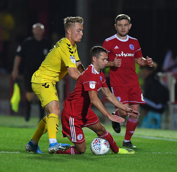 Fleetwood Town's Kyle Dempsey battles for the ball<br /> <br /> Photographer Dave Howarth/CameraSport<br /> <br /> EFL Leasing.com Trophy - Northern Section - Group B - Tuesday 3rd September 2019 - Accrington Stanley v Fleetwood Town - Crown Ground - Accrington<br />  <br /> World Copyright © 2019 CameraSport. All rights reserved. 43 Linden Ave. Countesthorpe. Leicester. England. LE8 5PG - Tel: +44 (0) 116 277 4147 - admin@camerasport.com - www.camerasport.com