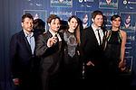 Spanish singer David Bisbal (2L), Maria Valverde (R), Barbara Goenada, cinema director Kike Maíllo (L) and actor Oriol Vila (2R) attend David Bisbal´s new music album premiere photocall at Callao cinema in Madrid, Spain. March 17, 2014. (ALTERPHOTOS/Victor Blanco)