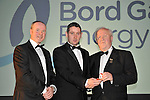 At the Bord G&aacute;is Energy Munster GAA Sports Star of the Year Awards in The Malton Hotel, Killarney on Saturday night were front from left, Dave Kirwan, Managing Director, Bord Gais Enerergy, referee Fergal Horgan and Robert Frost, Chairman, Munster GAA.<br /> Picture by Don MacMonagle<br /> <br /> PR photo from Munster Council