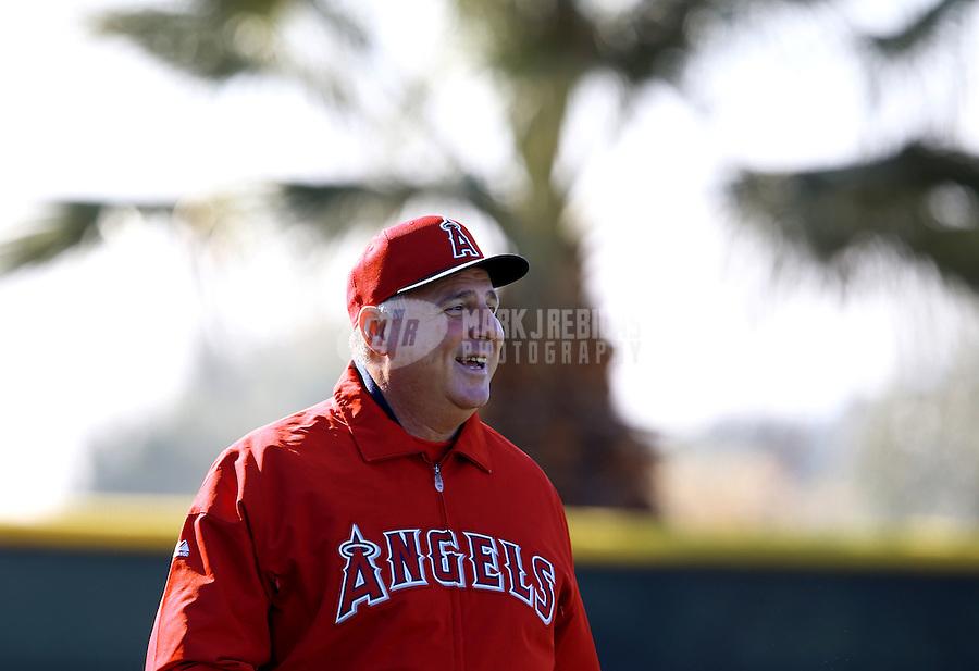 Feb. 12, 2013; Tempe, AZ, USA: Los Angeles Angels manager Mike Scioscia during spring training at Tempe Diablo Stadium. Mandatory Credit: Mark J. Rebilas-USA TODAY Sports