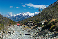 8-wheel all terrain vehicles known as ARGOs are a popular way to explore the rugged and beautiful Aoraki Mount Cook National Park. Glaciers cover 40% of the park that contains more than 140 peaks standing over 2,000 meters (6,600 ft) and 19 peaks over 3,000 meters.