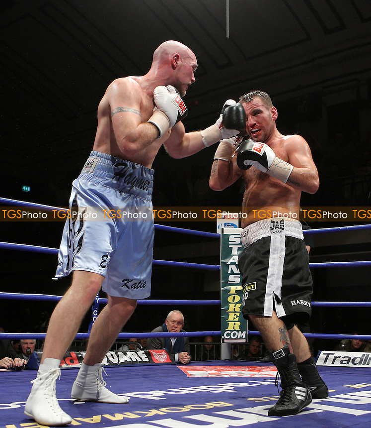 Tony Oakey (Portsmouth, black shorts) defeats Peter Haymer (Enfield, light blue shorts) in a Light-Heavyweight contest for the British Title at York Hall, Bethnal Green, promoted by Frank Maloney (FTM Sports) - 01/02/08 - MANDATORY CREDIT: Gavin Ellis/TGSPHOTO. Self-Billing applies where appropriate. NO UNPAID USE. Tel: 0845 094 6026