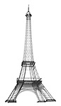 X-ray image of a model Eiffel tower (black on white) by Jim Wehtje, specialist in x-ray art and design images.