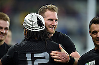 Kieran Read of New Zealand embraces team-mate Ma'a Nonu in celebration of Nonu's 100th appearance for the All Blacks. Rugby World Cup Pool C match between New Zealand and Tonga on October 9, 2015 at St James' Park in Newcastle, England. Photo by: Patrick Khachfe / Onside Images
