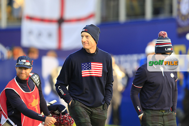 Jim Furyk and Hunter Mahan (USA) walk off the 1st tee to start their match during Saturday Mornings Fourball Matches between Europe's Lee Westwood and Jamie Donaldson and USA's Hunter Mahan and Jim Furyk of the Ryder Cup 2014 played on the PGA Centenary Course at the Gleneagles Hotel, Auchterarder, Scotland.: Picture Eoin Clarke, www.golffile.ie : 27th September 2014