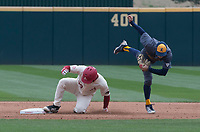 NWA Democrat-Gazette/J.T. WAMPLER Arkansas' Grant Koch makes it to second base after Kent State's Josh Hollander misses the tag Sunday March 11, 2018 at Baum Stadium in Fayetteville. Arkansas won 11-4.