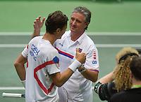 02-02-14,Czech Republic, Ostrava, Cez Arena, Davis Cup Czech Republic vs Netherlands,   Tomas Berdych (CZE) is congratulated by his captain Navrátil<br /> Photo: Henk Koster