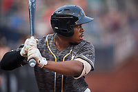 Quad Cities River Bandits left fielder Marty Costes (16) at bat during a game against the West Michigan Whitecaps on July 22, 2018 at Modern Woodmen Park in Davenport, Iowa.  West Michigan defeated Quad Cities 6-4.  (Mike Janes/Four Seam Images)