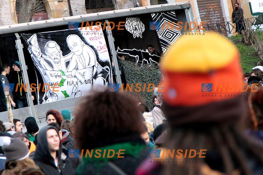 Roma 08-02-2014 Manifestazione antiproibizionista Marjuana march.<br /> Photo Samantha Zucchi Insidefoto