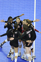 Omaha, NE - DECEMBER 20:  Middle blocker Foluke Akinradewo #16, outside hitter Cynthia Barboza #1, outside hitter Erin Waller #12, libero Gabi Ailes #9, outside hitter/setter Cassidy Lichtman #8, and outside hitter Alix Klineman #10 of the Stanford Cardinal during Stanford's 20-25, 24-26, 23-25 loss against the Penn State Nittany Lions in the 2008 NCAA Division I Women's Volleyball Final Four Championship match on December 20, 2008 at the Qwest Center in Omaha, Nebraska.