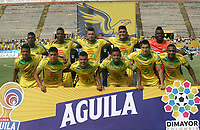 NEIVA- COLOMBIA, 13-07-2019:Formación del Atlético Huila.Acción de juego entre los equipos del Atlético Huila y La Equidad  durante partido por la fecha 1 de la Liga Águila II 2019 jugado en el estadio Guillermo Plazas Alcid de la ciudad de Neiva. /Team of Atletico Huila.Action game between teams Atletico Huila and Equidad during the match for the date 1 of the Liga Aguila II 2019 played at the Guillermo Plazas Alcid Stadium in Neiva  city. Photo: VizzorImage / Sergio Reyes / Contribuidor.