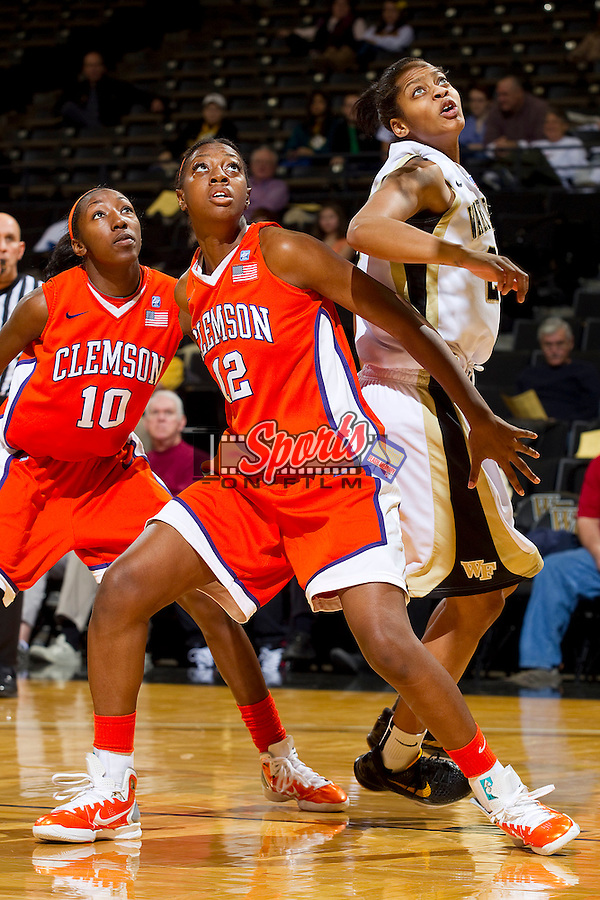 Quinyotta Pettaway #12 of the Clemson Tigers boxes out Brittany Waters #20 of the Wake Forest Demon Deacons at the Lawrence Joel Coliseum on January 23, 2011 in Winston-Salem, North Carolina.  The Tigers defeated the Demon Deacons 77-73 in overtime.  Photo by Brian Westerholt / Sports On Film