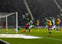 23rd November 2019; Easter Road, Edinburgh, Scotland; Scottish Premiership Football, Hibernian versus Motherwell; Daryl Horgan of Hibernian slots home Hibernian third goal in the 86th minute - Editorial Use