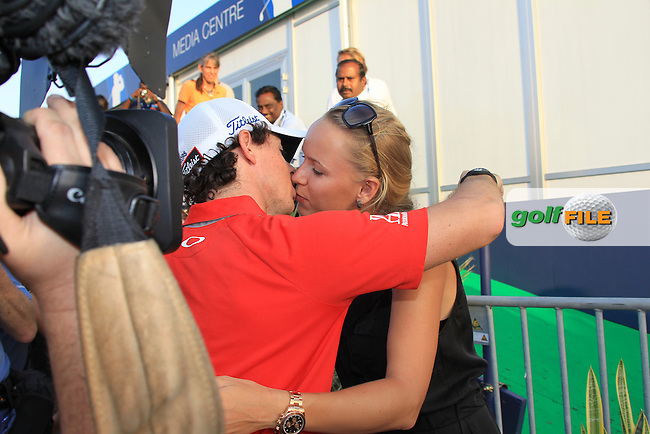 World No.1 Rory McIlroy (NIR) gives girlfriend Caroline Wozniacki after winning the tournament with a score of -23 at the end of Sunday's Final Round of the season ending DP World Tour Championship 2012 held on the Earth Course at the Jumeirah Golf Estates,Dubai. 25th November 2012 (Photo Eoin Clarke/www.golffile.ie)