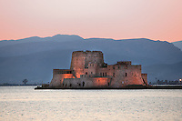 Bourtzi Castle, an island fortress in the harbour of Nauplion, completed by the Venetians, 1473, regained from Turkey by Greece in 1822, it served as the local executioner's house from 1865 -1930
