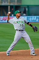 Clinton LumberKings infielder Rayder Ascanio (13) throws to first base during a Midwest League game against the Wisconsin Timber Rattlers on May 9th, 2016 at Fox Cities Stadium in Appleton, Wisconsin.  Clinton defeated Wisconsin 6-3. (Brad Krause/Four Seam Images)