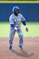 San Jose State Spartans outfielder Brandon Petersen (10) leads off second base against the Michigan Wolverines on March 27, 2019 in Game 2 of the NCAA baseball doubleheader at Ray Fisher Stadium in Ann Arbor, Michigan. Michigan defeated San Jose State 3-0. (Andrew Woolley/Four Seam Images)
