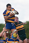 Alepini Olosoni claims lineout ball. CMRFU Counties Power Premier Club Rugby game between Patumahoe & Pukekohe played at Patumahoe on April 12th, 2008..The halftime score was 10 all with Pukekohe going on to win 23 - 18.