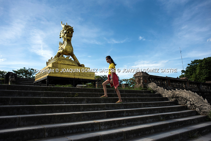 A girl strolls through the imperial city of Hue in Vietnam<br /> HUE-VIETNAM