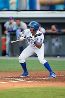 Jose Sanchez (2) of the Burlington Royals squares to bunt against the Kingsport Mets at Burlington Athletic Stadium on July 18, 2016 in Burlington, North Carolina.  The Royals defeated the Mets 8-2.  (Brian Westerholt/Four Seam Images)