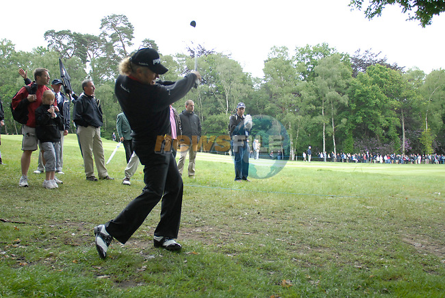Miguel Angel Jimenez takes his 2nd shot out of the rough on the 3rd hole during the 3rd round of the BMW PGA Championship at Wentworth Club, Surrey, England 26th may 2007 (Photo by Eoin Clarke/NEWSFILE)