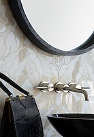 Rumi, a stone waterjet mosaic shown in Diana Royal polished and Snow White honed, is part of the Talya Collection by Sara Baldwin for Marble Systems.