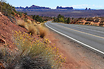 A Desert Landscape along the road through Arches National Park, Utah, USA