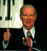 Former United States Secretary of State James A. Baker III makes remarks at a symposium sponsored by Middle East Insight Magazine in Washington, D.C. on May 27, 1998..Credit: Ron Sachs / CNP