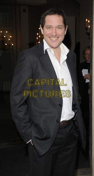 Bertie Carvel.The 2011 Theatre Awards UK, Banqueting House, Whitehall, London, England..30th October 2011.half length white shirt grey gray suit jacket smiling .CAP/CAN.©Can Nguyen/Capital Pictures.