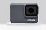 GoPro Hero 7 Silver camera is seen during the presentation of company's new products on September 25, 2018, Tokyo, Japan. The new Hero 7 Black is being promoted as a gimbal killer with its new HyperSmooth filming feature. The top of the range Black model will cost JPY 53,460 in Japan and there are two cheaper Silver and White versions which will be released at the same time. (Photo by Rodrigo Reyes Marin/AFLO)