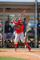 Philadelphia Phillies Alexeis Azuaje (5) at bat during an Instructional League game against the Detroit Tigers on September 19, 2019 at Tigertown in Lakeland, Florida.  (Mike Janes/Four Seam Images)