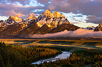 Teton Range from the Snake River Overlook in Grand Teton National Park at sunrise.