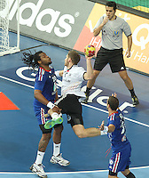18.01.2013 Barcelona, Spain. IHF men's world championship, prelimanary round. Picture show Steffen Weinhold  in action during game between France vs Germany at Palau St Jordi