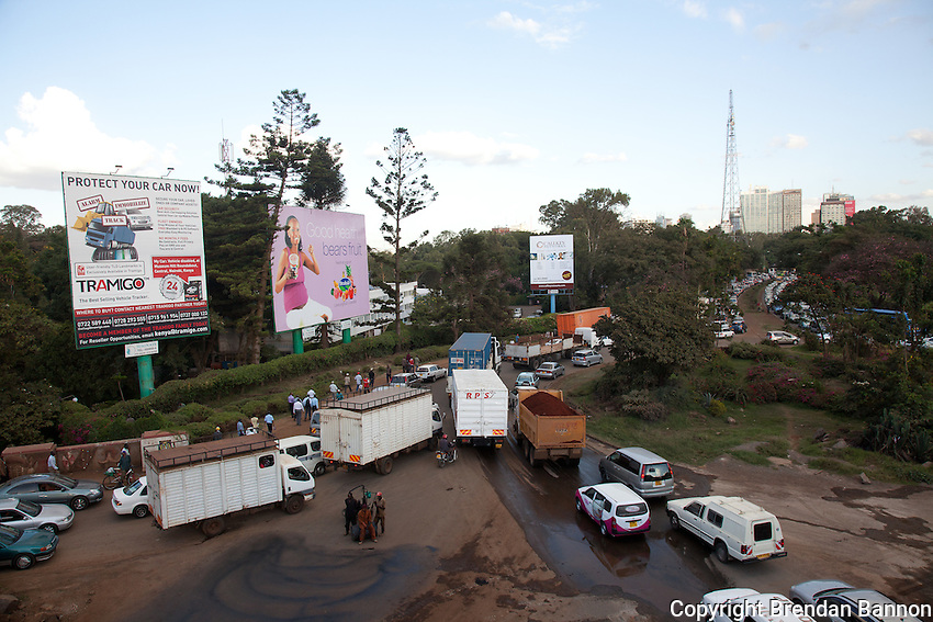 Construction delays traffic at Museum Hill roundabout in Nairobi.
