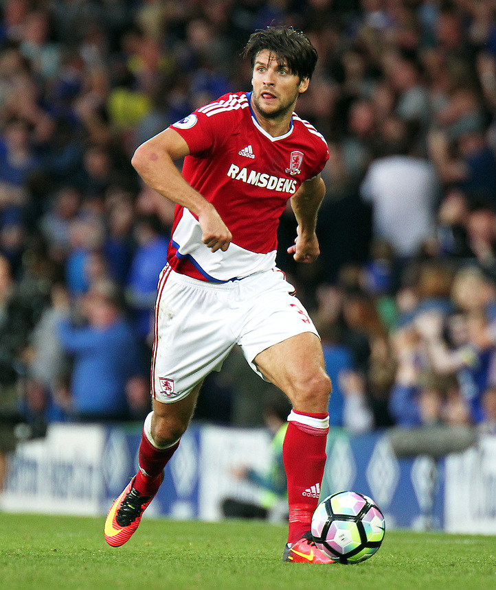 Middlesbrough's George Friend<br /> <br /> Photographer Rich Linley/CameraSport<br /> <br /> The Premier League - Everton v Middlesbrough - Saturday 17th September 2016 - Goodison Park - Liverpool<br /> <br /> World Copyright &copy; 2016 CameraSport. All rights reserved. 43 Linden Ave. Countesthorpe. Leicester. England. LE8 5PG - Tel: +44 (0) 116 277 4147 - admin@camerasport.com - www.camerasport.com