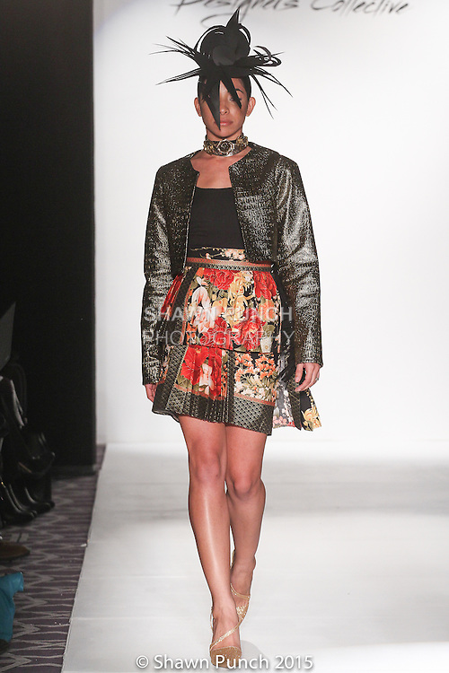 "Model walks runway in an outfit from Tiki Glam Fall 2015 ""Photosynthesis"" collection by Kuteka, during the Designer's Collective Fall Winter 2015 fashion show for Fashion Gallery New York Fashion Week Fall 2015."