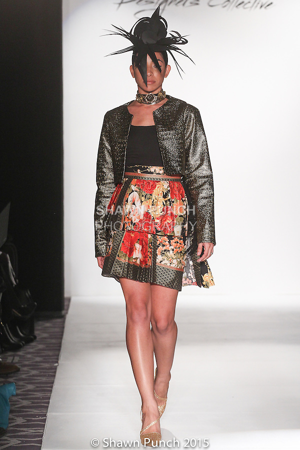 """Model walks runway in an outfit from Tiki Glam Fall 2015 """"Photosynthesis"""" collection by Kuteka, during the Designer's Collective Fall Winter 2015 fashion show for Fashion Gallery New York Fashion Week Fall 2015."""